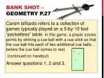 bank shot geometry p 27