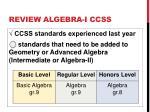 review algebra i ccss