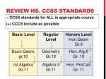review hs ccss standards