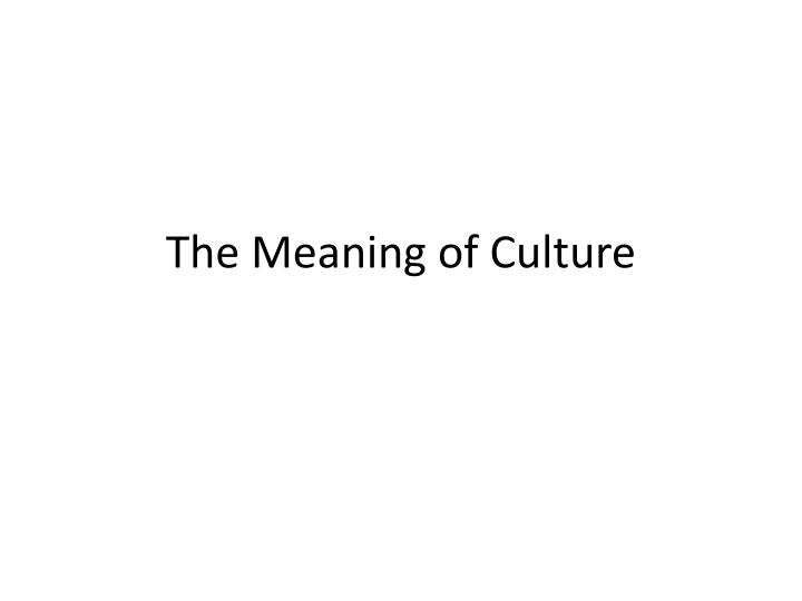 the meaning of culture n.