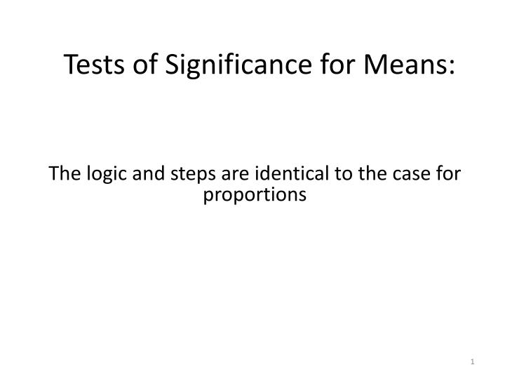 tests of significance for means n.