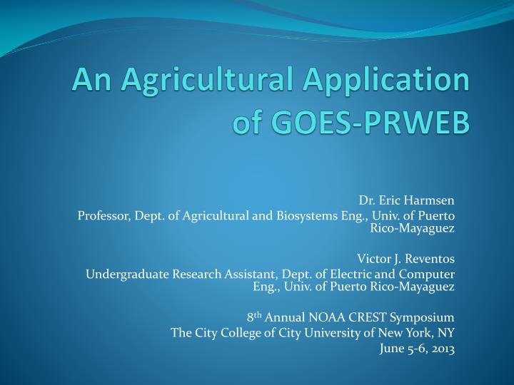 an agricultural application of goes prweb n.
