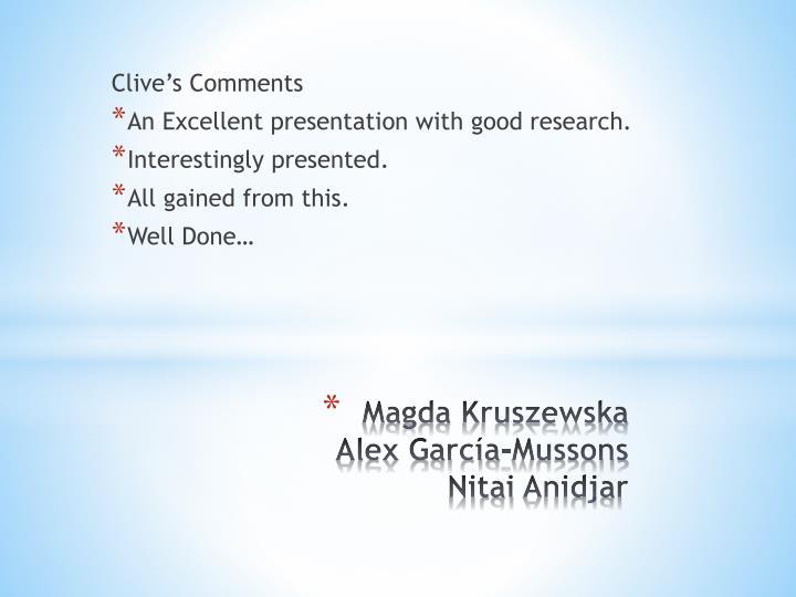 Magda kruszewska alex garc a mussons nitai anidjar