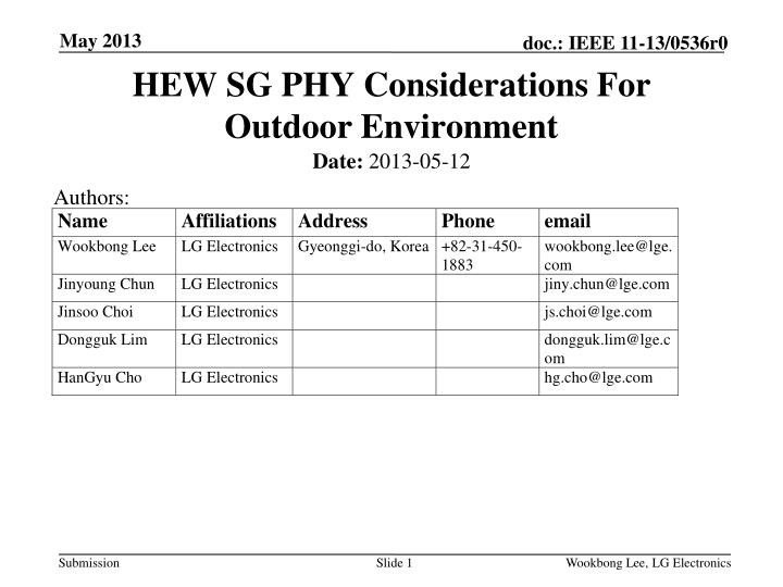 hew sg phy considerations for outdoor environment n.