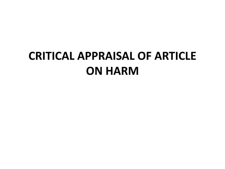 critical appraisal of article on harm n.