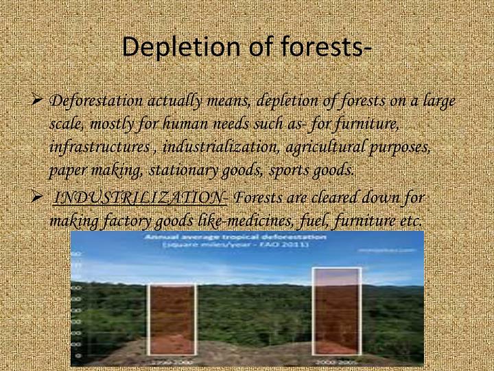 Depletion of forests-