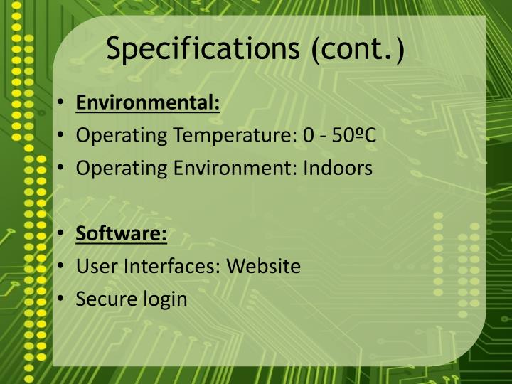 Specifications (cont.)