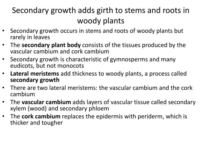 Secondary growth adds girth to stems and roots in woody plants