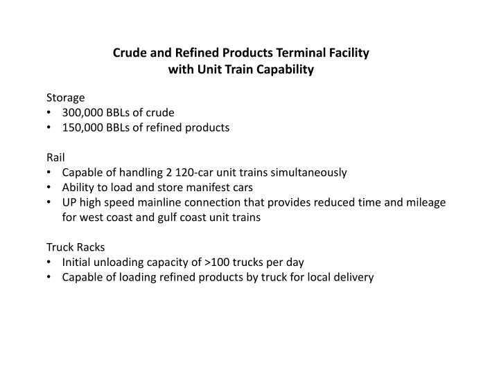 Crude and Refined Products Terminal Facility