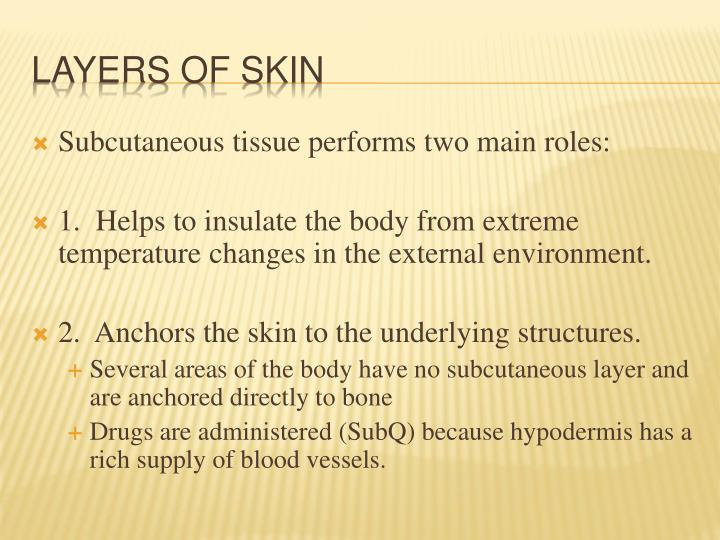 Subcutaneous tissue performs two main roles: