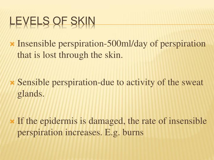 Insensible perspiration-500ml/day of perspiration that is lost through the skin.