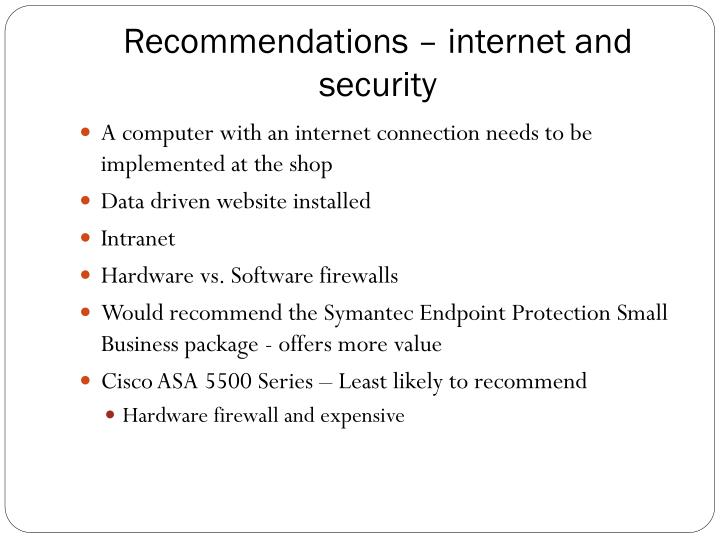 Recommendations – internet and security