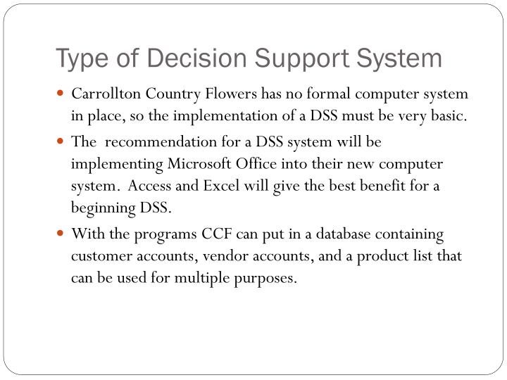 Type of Decision Support System