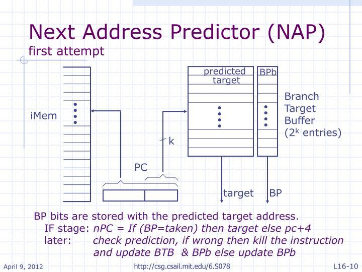 Next Address Predictor (NAP)