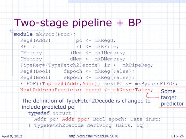 Two-stage pipeline + BP