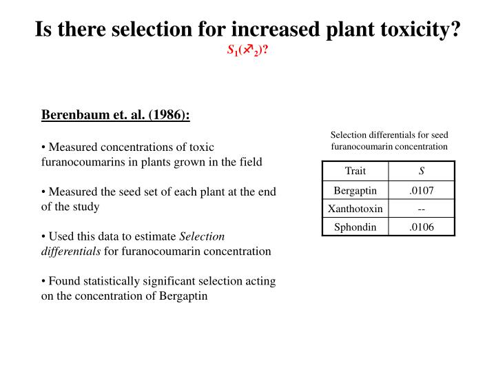 Is there selection for increased plant toxicity?