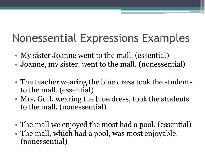 Nonessential Expressions Examples