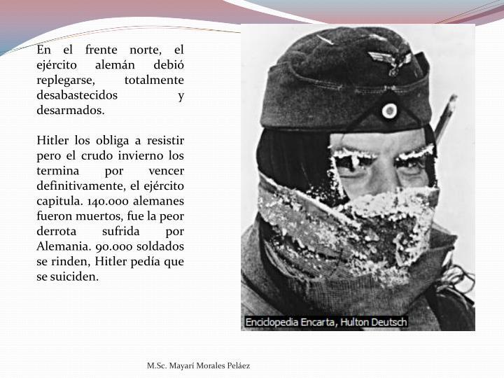 En el frente norte, el ejército alemán debió replegarse, totalmente desabastecidos y desarmados.