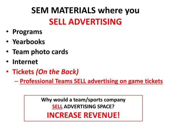 Sem materials where you sell advertising