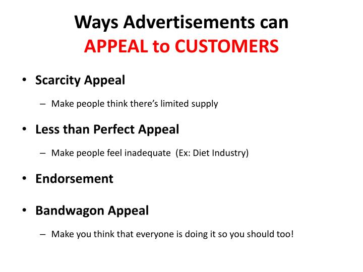 Ways advertisements can appeal to customers