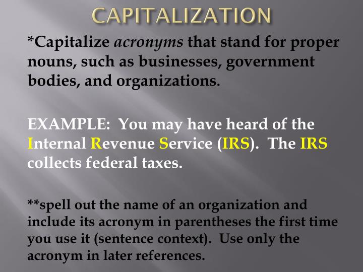 is the federal government capitalized