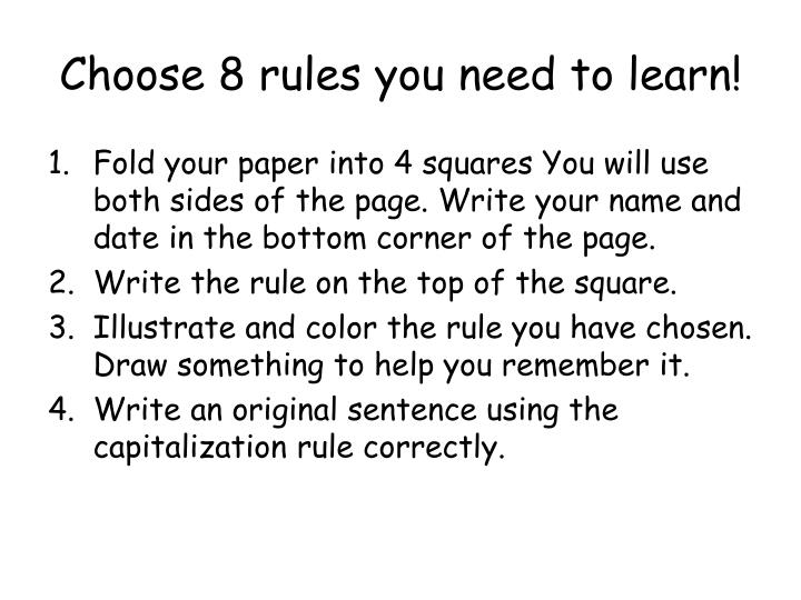 choose 8 rules you need to learn n.