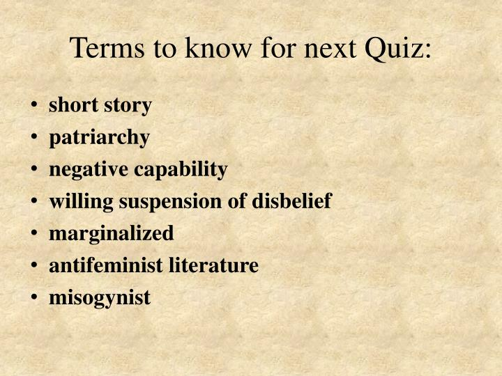 Terms to know for next quiz