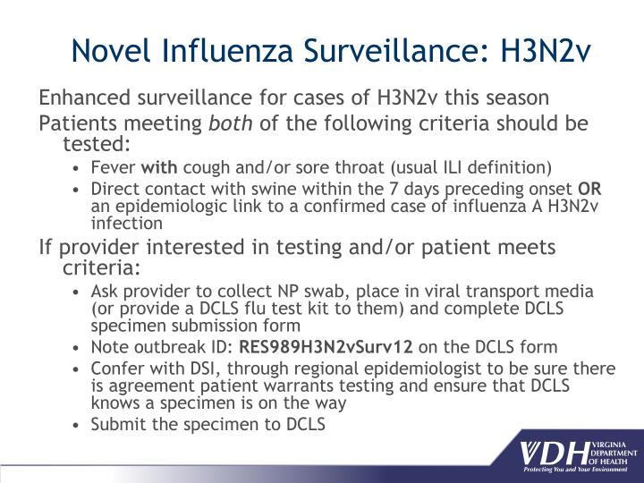 Enhanced surveillance for cases of H3N2v this season