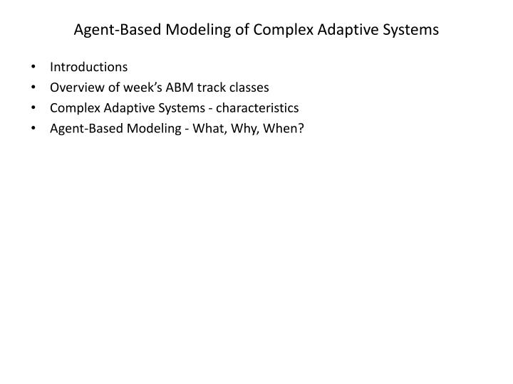 agent based modeling of complex adaptive systems n.