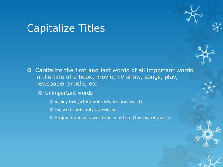 Capitalize Titles
