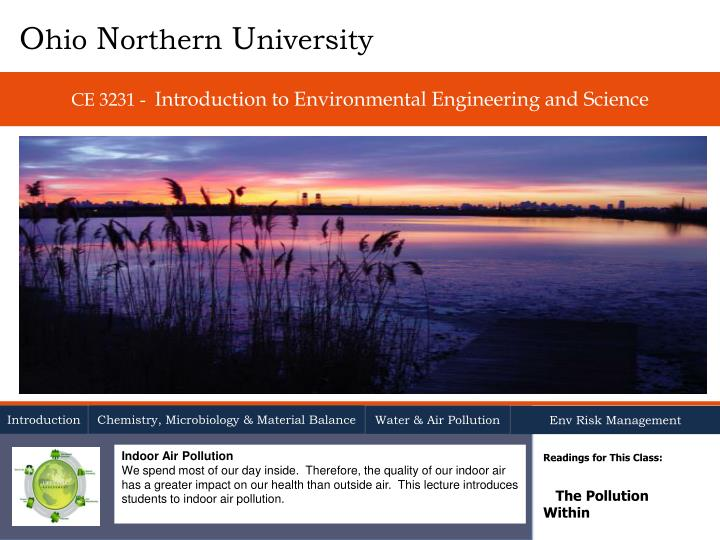 ce 3231 introduction to environmental engineering and science n.