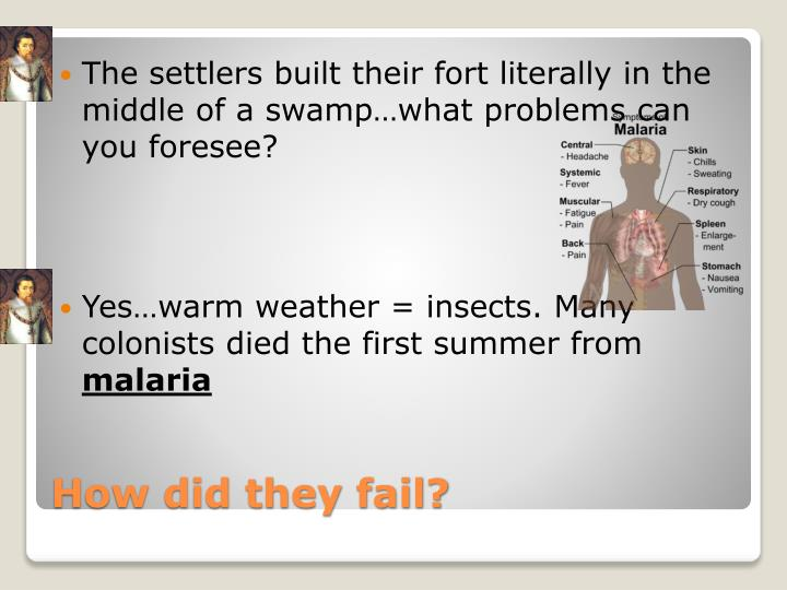 The settlers built their fort literally in the middle of a swamp…what problems can you foresee?