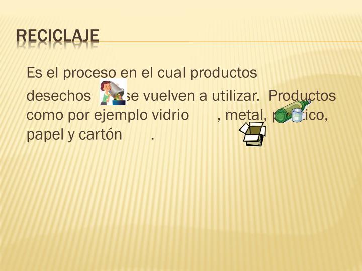 Es el proceso en el cual productos