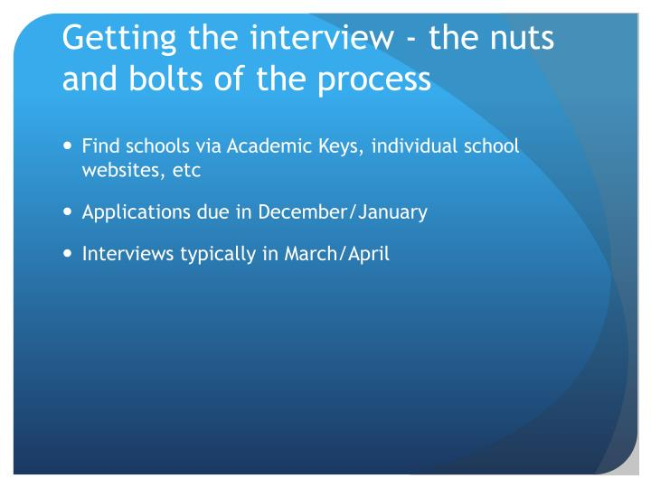Getting the interview - the nuts and bolts of the process