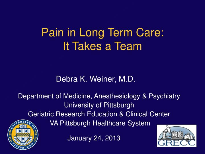 pain in long term care it takes a team n.