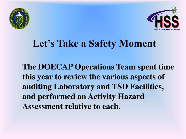 PPT - Let's Take a Safety Moment PowerPoint Presentation