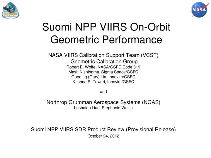 suomi npp viirs on orbit geometric performance n.