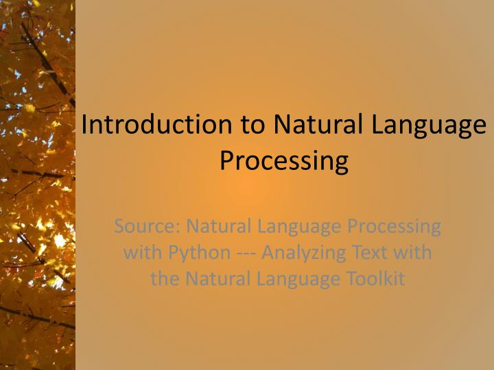 introduction to natural language processing n.