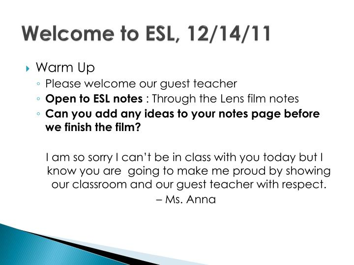 welcome to esl 12 14 11 n.