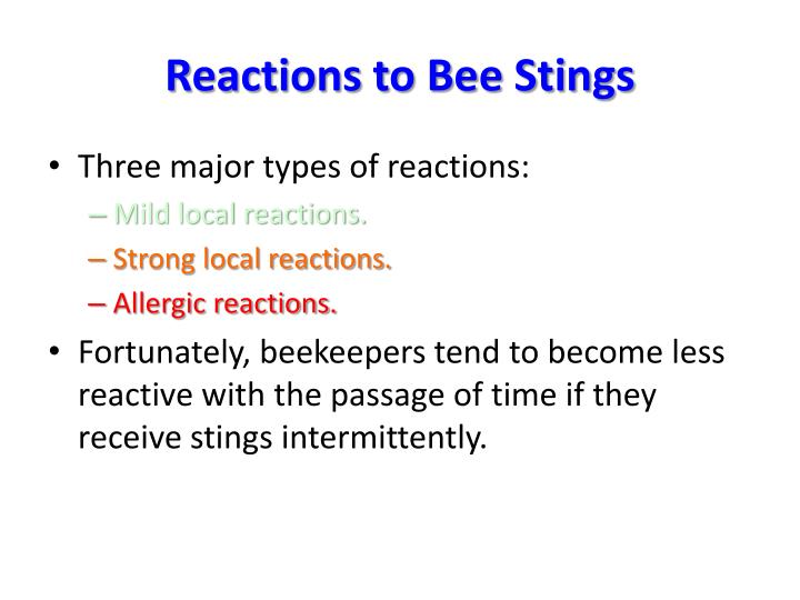 Reactions to bee stings