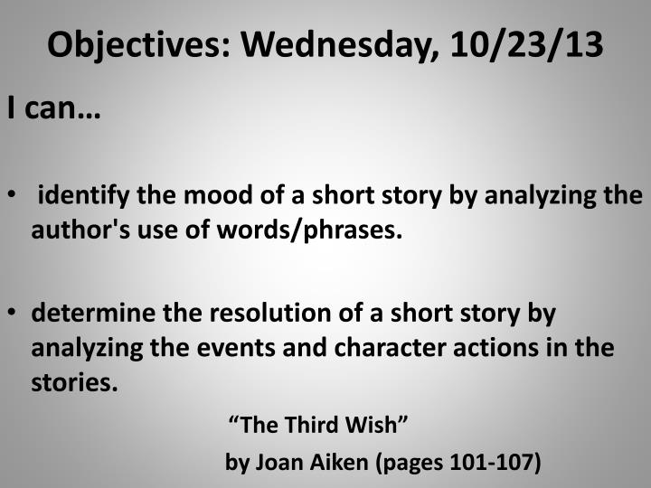 objectives wednesday 10 23 13 n.