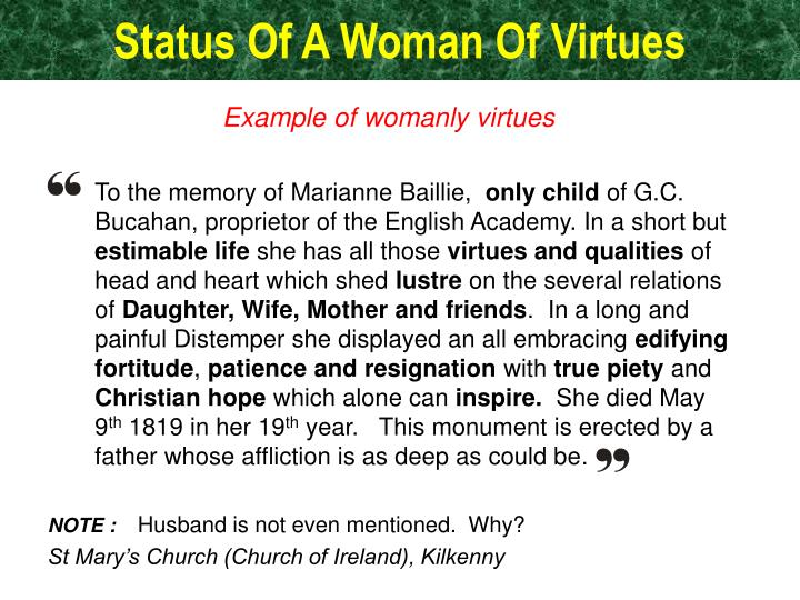 Status Of A Woman Of Virtues