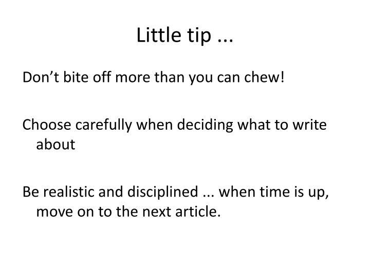 Little tip ...