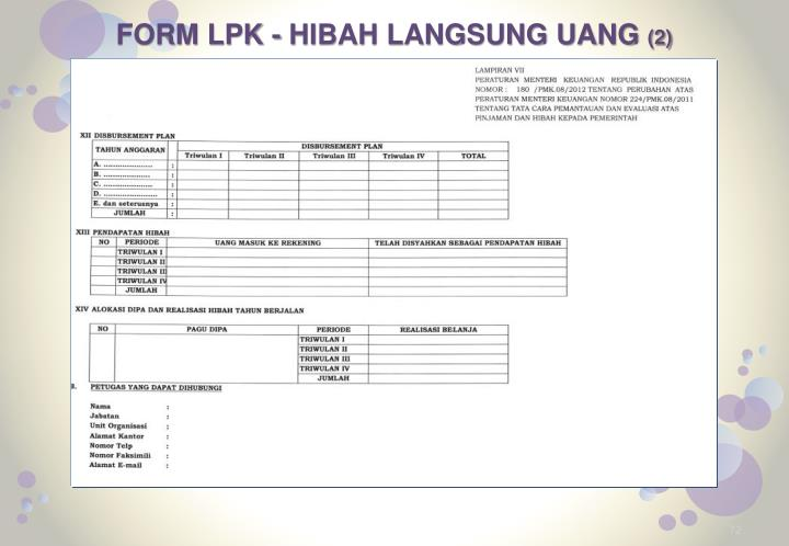 FORM LPK - HIBAH LANGSUNG UANG