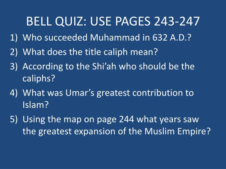 bell quiz use pages 243 247 n.