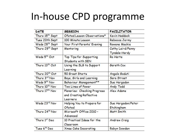 In-house CPD programme