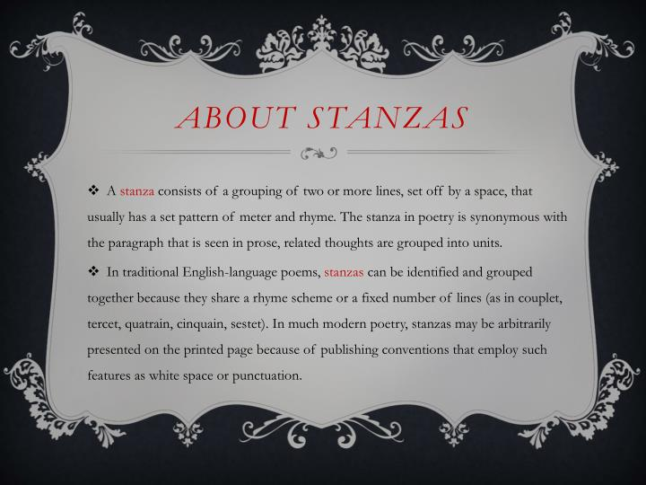 about Stanzas