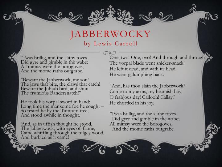 "an analysis of the use of imagination in jabberwocky by lewis carroll The (translated) jabberwocky most people think that lewis carroll's classic poem jabberwocky is a ""nonsense"" poem, constructed of made up, functionless words, with the responsibility of definition."