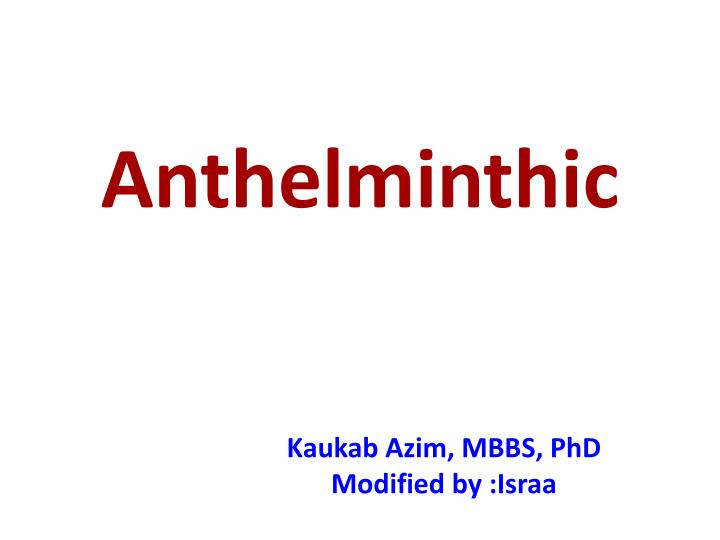 anthelminthic n.
