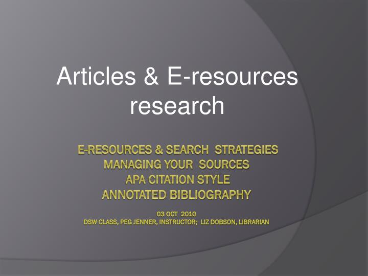 articles e resources research n.
